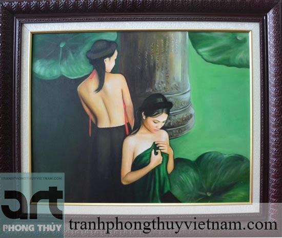 tranh sơn dầu thiếu nữ tuyệt đẹp