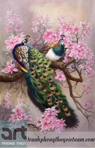 tranh chim công trang trí phòng khách tuyệt đẹp