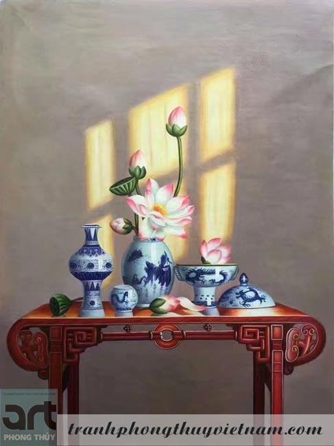 tranh sơn dầu trang trí phòng thờ 1