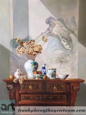 tranh sơn dầu trang trí phòng thờ 2