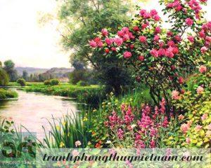 tranh phong cảnh vườn hồng