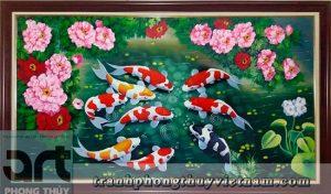 tranh phong thủy cá chép hoa mẫu đơn