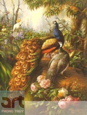 tranh phong thủy chim công