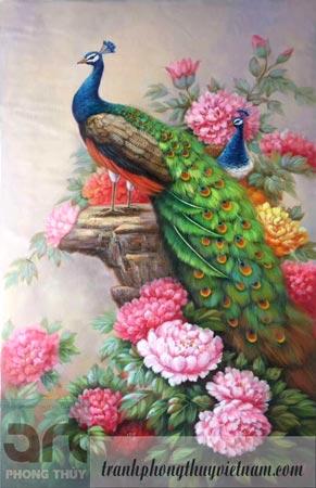 tranh phong thủy trang trí chim công và hoa mẫu đơn
