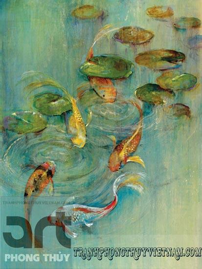 tranh sơn dầu cá chép đẹp giá rẻ