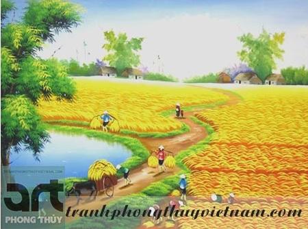 tranh sơn dầu cảnh đồng quê