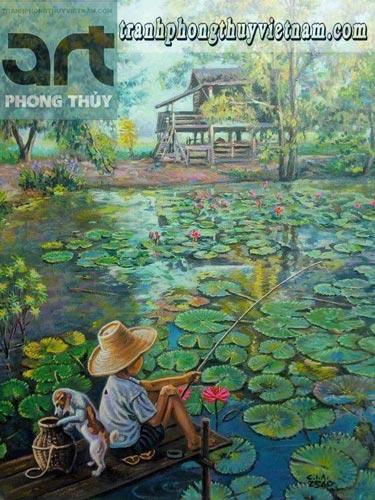 tranh sơn dầu cậu bé câu cá