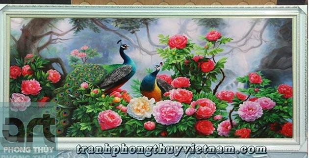 tranh sơn dầu chim công và hoa mẫu đơn