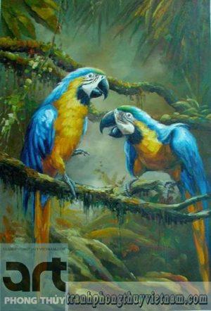 tranh sơn dầu chim vẹt