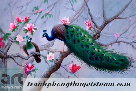 tranh sơn dầu đôi chim công đẹp nhất