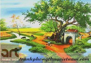 tranh sơn dầu đồng quê việt nam đẹp