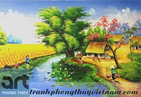 tranh sơn dầu đồng quê việt nam đẹp nhất