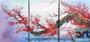 tranh sơn dầu hoa đào