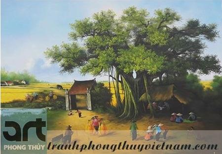 tranh sơn dầu phong cảnh đồng quê đẹp giá rẻ