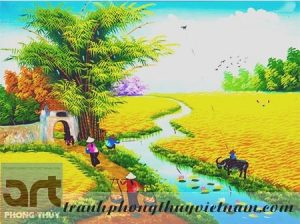 tranh sơn dầu vẽ cảnh đồng quê việt nam