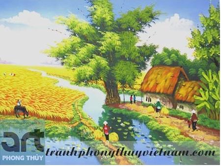 tranh sơn dầu vẽ phong cảnh đồng quê