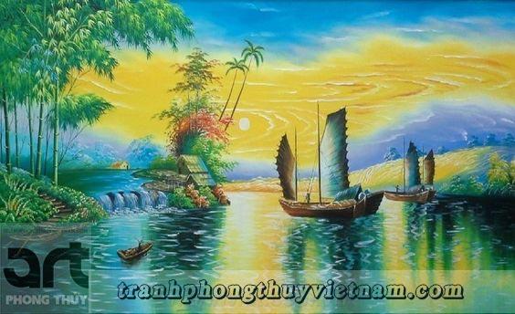 tranh sơn thủy trang trí gia đình