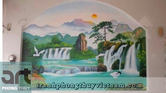 vẽ tranh tường phòng khách tuyệt đẹp