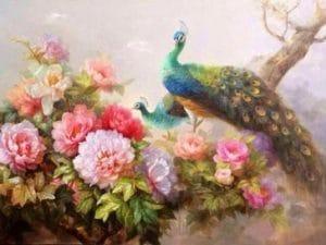 Ý nghĩa tranh chim công và hoa mẫu đơn trong phong thủy