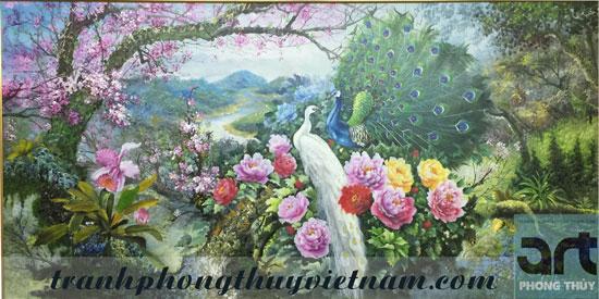 tranh sơn dầu chim công treo tường