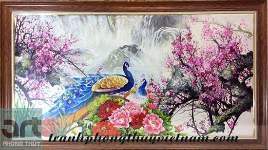 tranh treo tường cặp đôi chim công