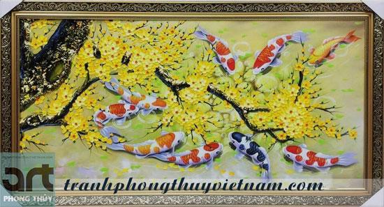tranh cửu ngư và hoa đào hoa mai