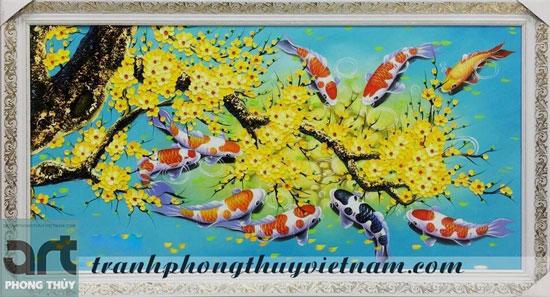tranh phong thủy cửu ngư quần tụ và cành hoa đào hoa mai