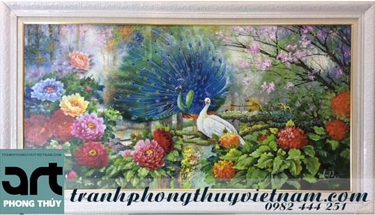 tranh sơn dầu chim công đẹp treo tường
