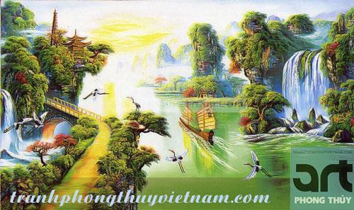 tranh sơn thủy phong cảnh hữu tình