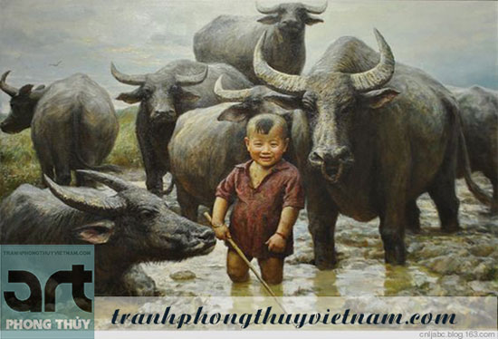 tranh sơn dầu cậu bé và đàn trâu
