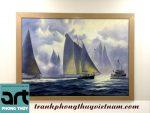 tranh sơn dầu thuyền và biển