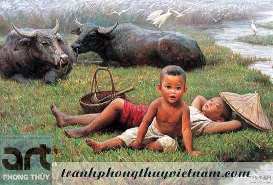 tranh sơn dầu vẽ em bé chăn trâu tuyệt đẹp