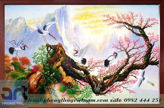 tranh sơn thủy chim hạc và cành đào