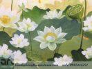 tranh vẽ hoa sen chất liệu sơn dầu