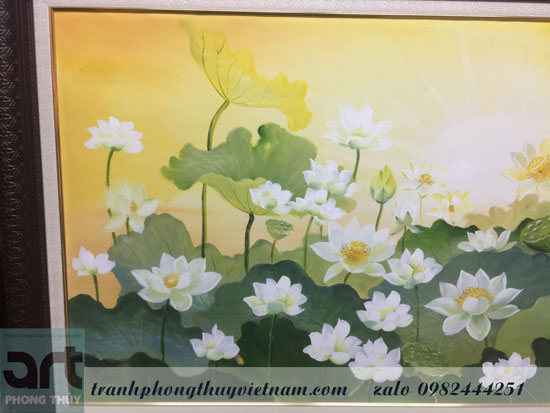 tranh vẽ hoa sen treo phòng khách tuyệt đẹp