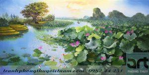 vẽ tranh phong cảnh đầm sen