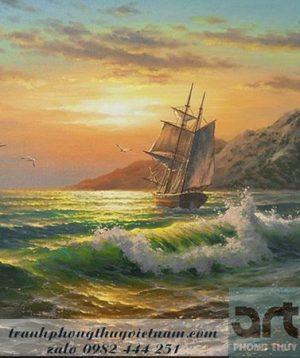 bức tranh sơn dầu thuận buồm xuôi gió