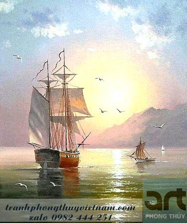thuận buồm xuôi gió tranh sơn dầu