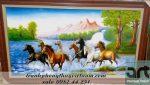 tranh ngựa bát mã chất liệu sơn dầu