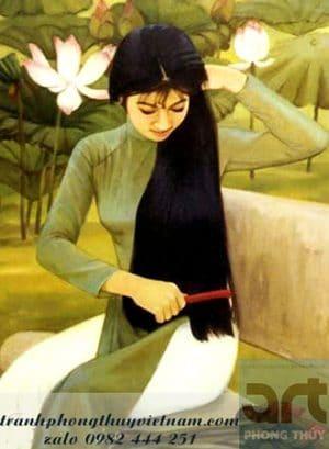 tranh sơn dầu thiếu nữ áo dài