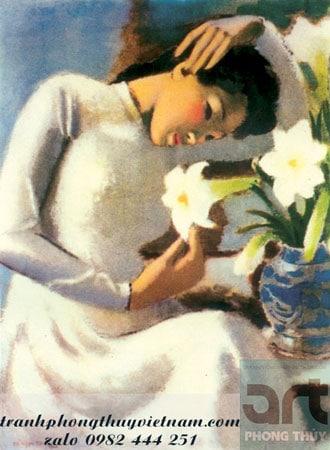 tranh sơn dầu thiếu nữ bên hoa huệ
