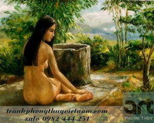 tranh sơn dầu thiếu nữ đẹp