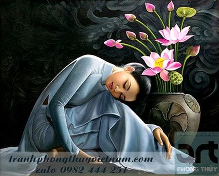 tranh sơn dầu vẽ thiếu nữ và hoa sen