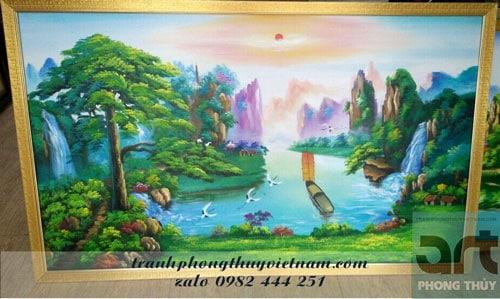 tranh sơn thủy đẹp treo phòng khách
