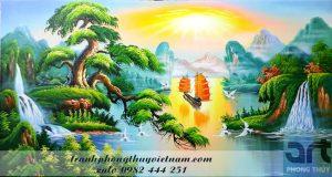tranh sơn thủy thuận buồm xuôi gió