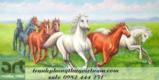 tranh vẽ tám chú ngựa phi nước đại