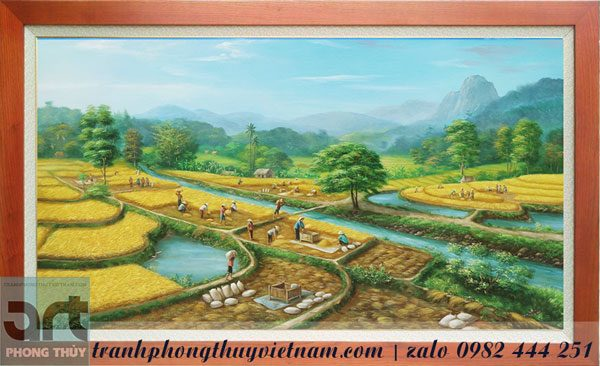 tranh đồng quê mùa gặt lúa