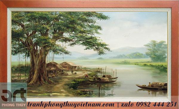 tranh đồng quê vẽ cây đa bến đò