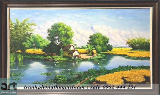 tranh đồng quê vẽ phong cảnh làng quê yên bình