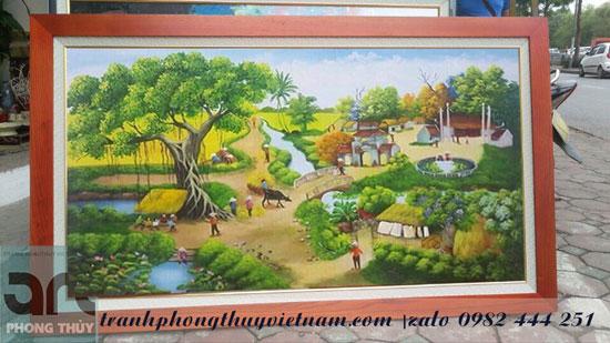 tranh đồng quê vẽ về làng quê việt nam